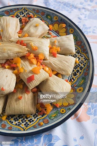 Tamales on decorative plate
