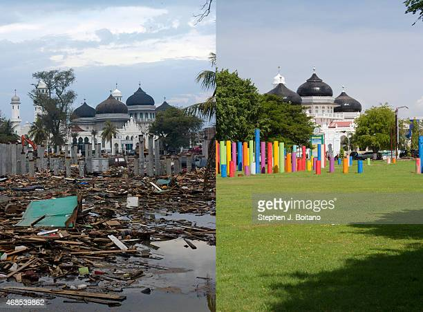 In this composite image a comparison has been made between a scene in 2005 and 2014 BANDA ACEH INDONESIA DECEMBER 12 Taman sari park in front of...