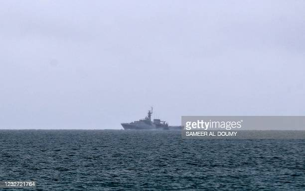 Tamar a Batch 2 river-class offshore patrol vessel of the British Navy, patrols the waters off the British island of Jersey on May 6, 2021. - Around...