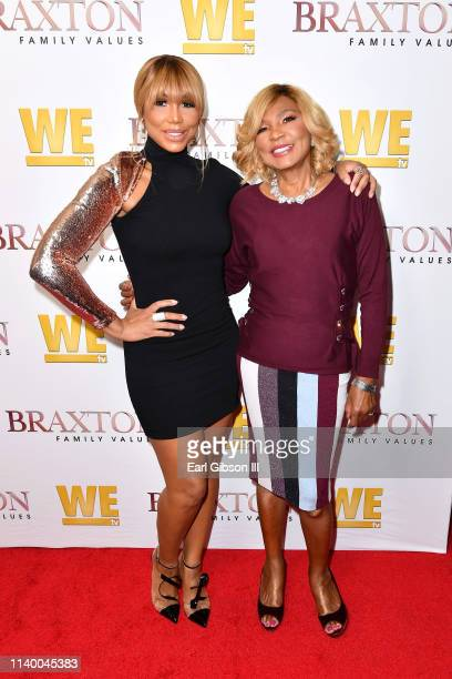"Tamar Braxton and Evelyn Braxton are seen as We TV celebrates the premiere of ""Braxton Family Values"" at Doheny Room on April 02, 2019 in West..."