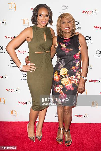 Tamar Braxton and Evelyn Braxton pose for a photo after a session at MegaFest on August 21, 2015 in Dallas, Texas.