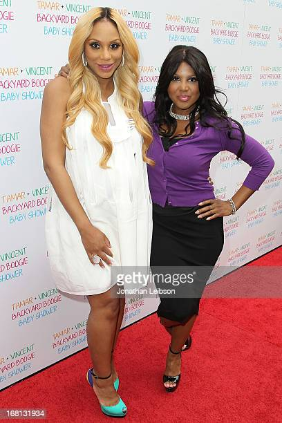 Tamar Braxton and Toni Braxton attend the Tamar Braxton Hosts Carnival-Themed Baby Shower With Friends And Family at Hotel Bel-Air on May 5, 2013 in...