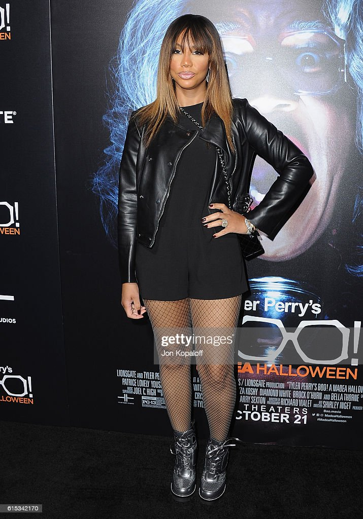Tamar Braxton arrives at the Los Angeles Premiere 'Boo! A Madea Halloween' at ArcLight Cinemas Cinerama Dome on October 17, 2016 in Hollywood, California.