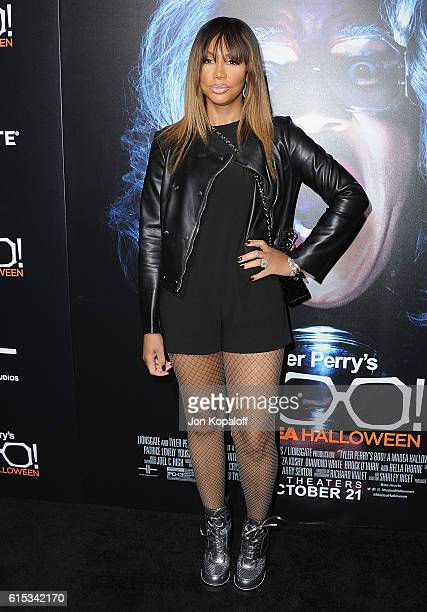 Tamar Braxton arrives at the Los Angeles Premiere 'Boo A Madea Halloween' at ArcLight Cinemas Cinerama Dome on October 17 2016 in Hollywood California