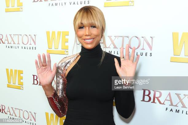 "Tamar Braxton attends WE tv's ""Braxton Family Values"" Season 6 Premiere at The Doheny Room on April 02, 2019 in West Hollywood, California."