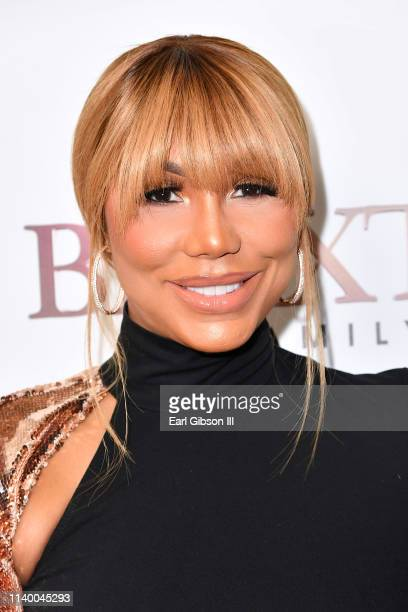 """Tamar Braxton is seen as We TV celebrates the premiere of """"Braxton Family Values"""" at Doheny Room on April 02, 2019 in West Hollywood, California."""