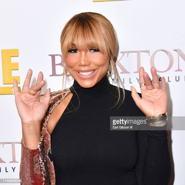 Tamar Braxton is seen as We TV celebrates the premiere of Braxton Family Values at Doheny Room on April 02 2019 in West Hollywood California