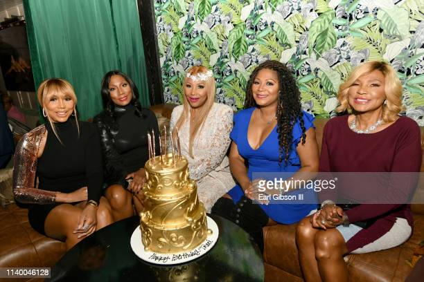 "Tamar Braxton, Towanda Braxton, Traci Braxton, Trina Braxton, and Evelyn Braxton are seen as We TV celebrates the premiere of ""Braxton Family Values""..."