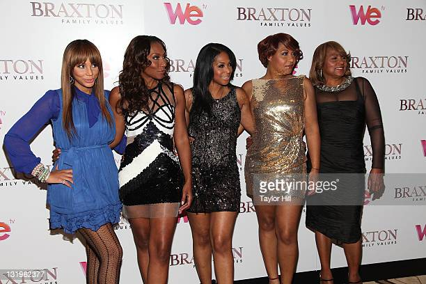 "Tamar Braxton, Towanda Braxton, Trina Braxton, Traci Braxton, and Evelyn Braxton attend the ""Braxton Family Values"" Season 2 premiere at the Tribeca..."