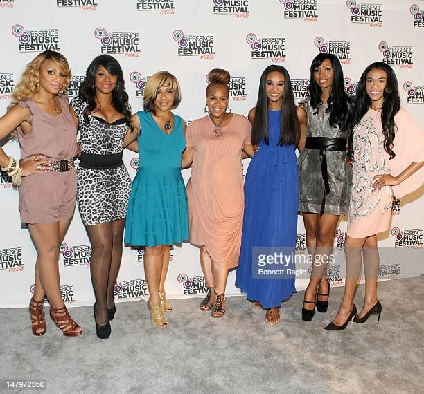 Tamar Braxton, Trina Braxton, Erica Campbell, Tina Campbell, Cynthia Bailey, Malorie Bailey-Massie, and Michelle Wiliams attend the 2012 Essence...