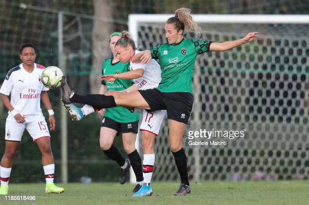 Tamar Dongus of Florentina San Gimignano Women in action against Dominika Conc of AC Milan Women during the Women Serie A match between Florentia and...