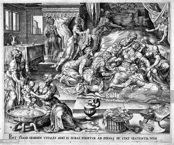Tamar giving birth to Pharez and Sarah 16th century Tamar had twins by her fatherinlaw Judah Pharez whose descendants include King David and Jesus of...