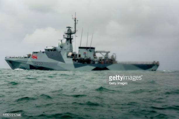 Tamar is deployed as French fishing boats sail into harbour to protest against new fishing licenses on May 6, 2021 in St Helier, Jersey. Up to 80...