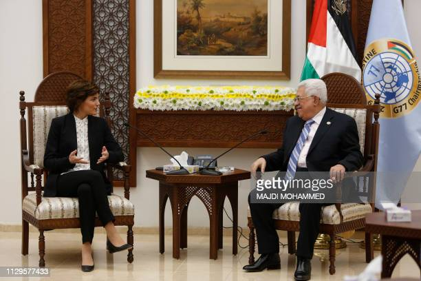 Tamar Zandberg the head of Israel's Meretz party speaks with Palestinian president Mahmoud Abbas during a meeting at his office in the West Bank city...