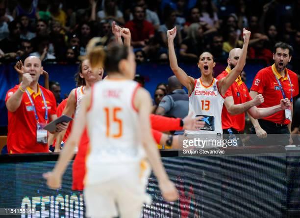 Tamara Abalde Diaz of Spain reacts during the FIBA Women's Eurobasket 2019 semi final match between Spain and Serbia on July 6 2019 in Belgrade Serbia