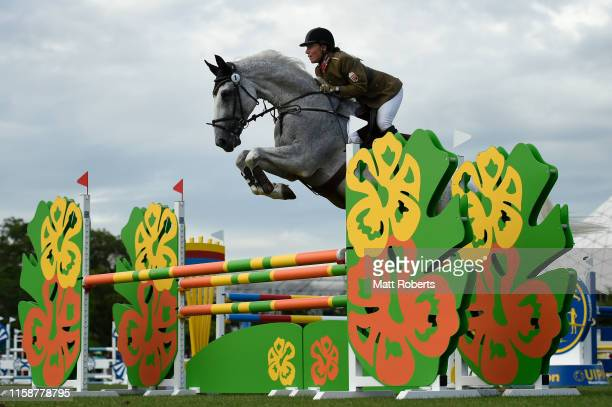 Tamara Alekszejev of hungary competes during the women's riding show jumping on day two of the UIPM World Cup Modern Pentathlon test event for the...