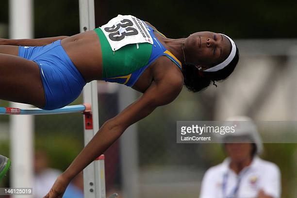 Tamara Alexandrino from Brazil competes high jump event during the heptathlon during the second day of the XV Track and Field Ibero-American...