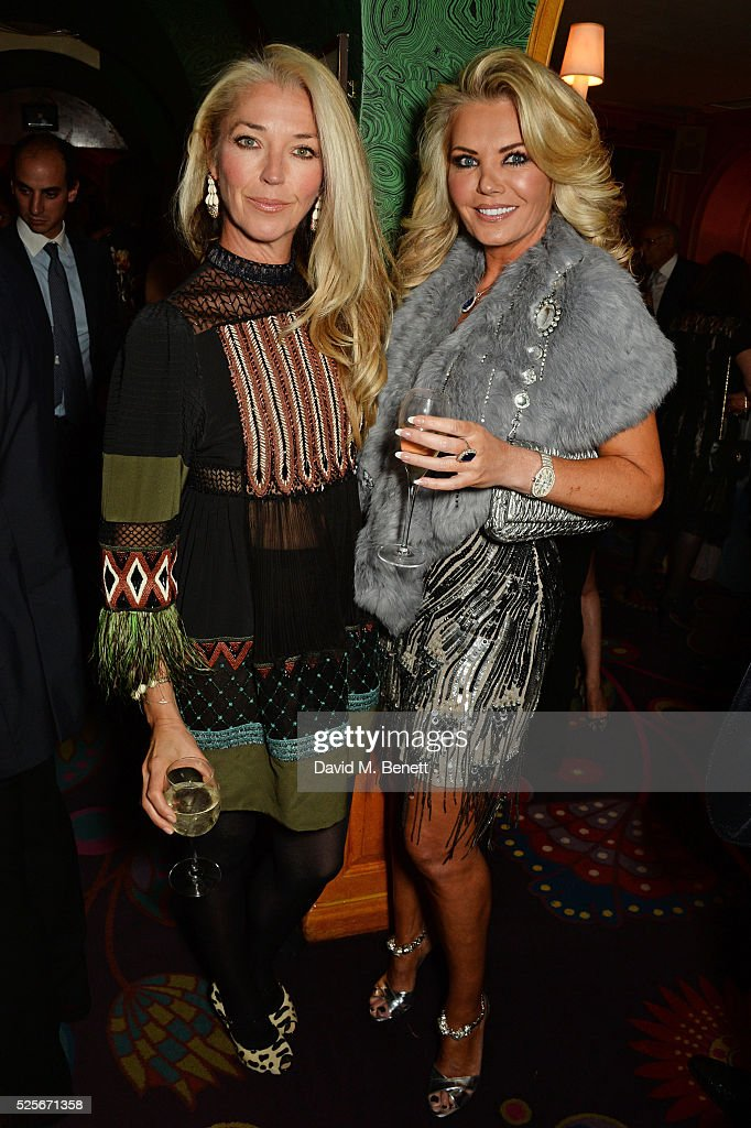 Tamara Beckwith (L) and Claire Caudwell attend a private dinner hosted by Fawaz Gruosi, founder of de Grisogono, at Annabels on April 28, 2016 in London, England.