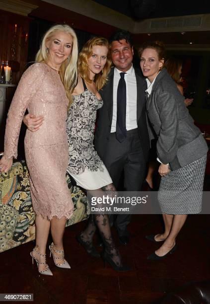 Tamara Beckwith Eva Herzigova Giorgio Veroni and Uma Thurman attend Giorgio Veroni's birthday party hosted by his wife Tamara Beckwith at The Rififi...
