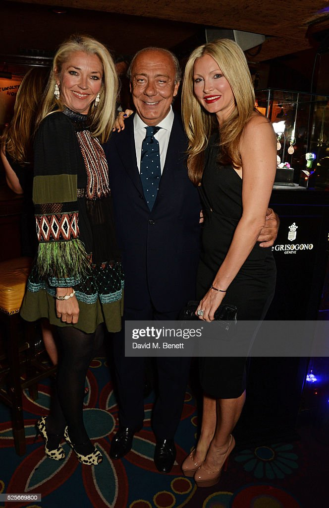 Tamara Beckwith, Fawaz Gruosi and Caprice Bourret attend a private dinner hosted by Fawaz Gruosi, founder of de Grisogono, at Annabels on April 28, 2016 in London, England.
