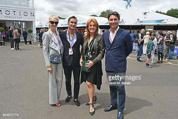 Tamara Beckwith Manuel Fernandez Sarah Ferguson Duchess of York and Giorgio Veroni attend day 2 of the 2016 FIA Formula E Visa London ePrix in...
