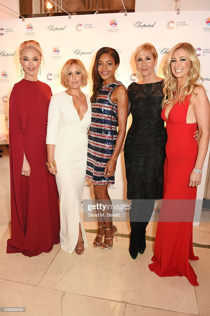 Tamara Beckwith, Mika Simmons, Naomie Harris, Tania Bryer and Jenny Halpern Prince attend The Lady Garden Gala hosted by Chopard in aid of Silent No More Gynaecological Cancer Fund and Cancer Research UK at Claridge's Hotel on January 14, 2016 in London, England.