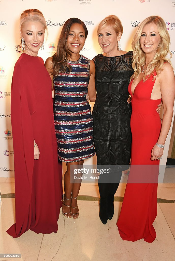 Tamara Beckwith, Naomie Harris, Tania Bryer and Jenny Halpern Prince attend The Lady Garden Gala hosted by Chopard in aid of Silent No More Gynaecological Cancer Fund and Cancer Research UK at Claridge's Hotel on January 14, 2016 in London, England.