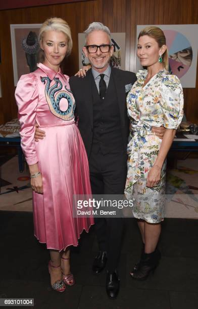 Tamara Beckwith Patrick Cox and Stephanie Purcell Rodrigues attend The Blossom City Gala Dinner at Bluebird Chelsea at Bluebird on June 6 2017 in...