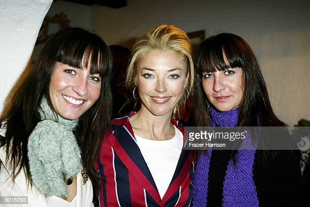 Tamara Beckwith poses with actress's Nikki Collins and Teena Collins at the Shizue handbag Oscar preview launch party hosted by Tamara Beckwith and...