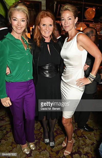 Tamara Beckwith Sarah Ferguson Duchess of York and Elaine Irwin attend the FIA Formula E Championship private dinner at Chiltern Firehouse on July 1...