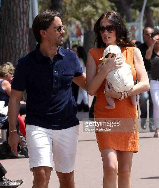 Tamara Ecclestone and husband Jay Rutland are seen with their new baby on day 7 of the 67th Annual Cannes Film Festival on May 20 2014 in Cannes...