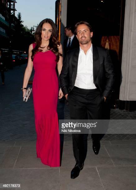 Tamara Ecclestone and Jay Rutland are seen leaving Roka restaurant Marylebone on May 18 2014 in London England