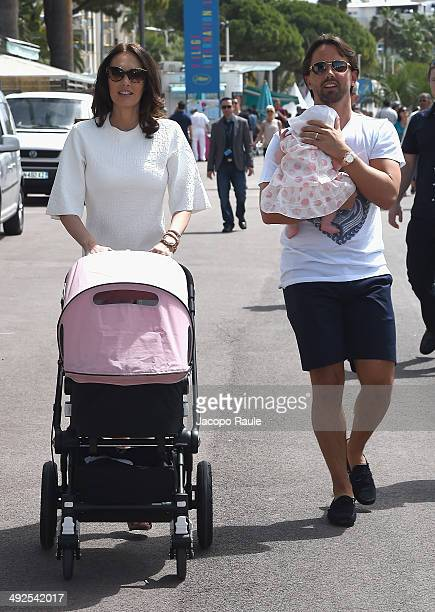 Tamara Ecclestone and Jay Rutland are seen with their new baby Sophia during the 67th Annual Cannes Film Festival on May 21 2014 in Cannes France