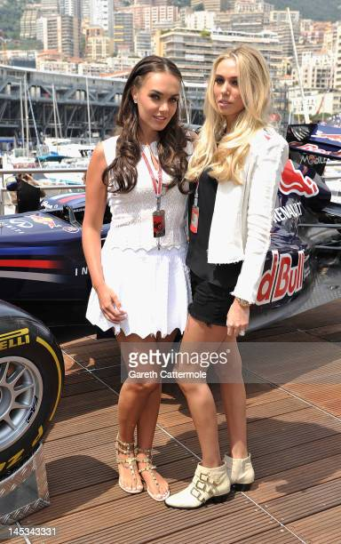 Tamara Ecclestone and Petra Ecclestone on the Red Bull Energy Station on race day at the Monaco Formula One Grand Prix at the Monte Carlo Circuit on...