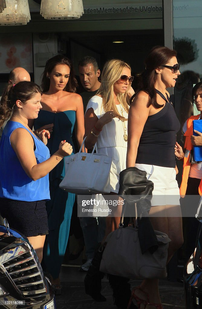 Tamara Ecclestone, Petra Ecclestone and Slavica Ecclestone sighting at Ciampino Airport as they arrive for Petra Ecclestone and James Stunt's wedding on August 25, 2011 in Rome, Italy.