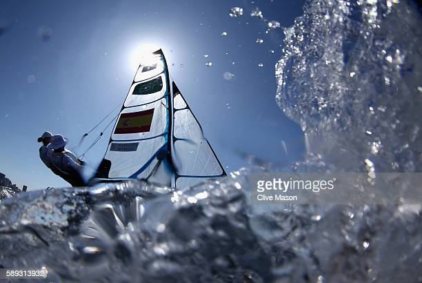 Tamara Echegoyen Dominguez and Berta Betanzos Moro of Spain are seen on their 49er FX Class skiff on Day 8 of the Rio 2016 Olympic Games at the...