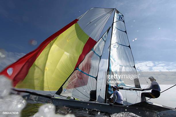 Tamara Echegoyen Dominguez and Berta Betanzos Moro of Spain in action on their 49er FX Class skiff during training at Marina da Gloria on August 6...