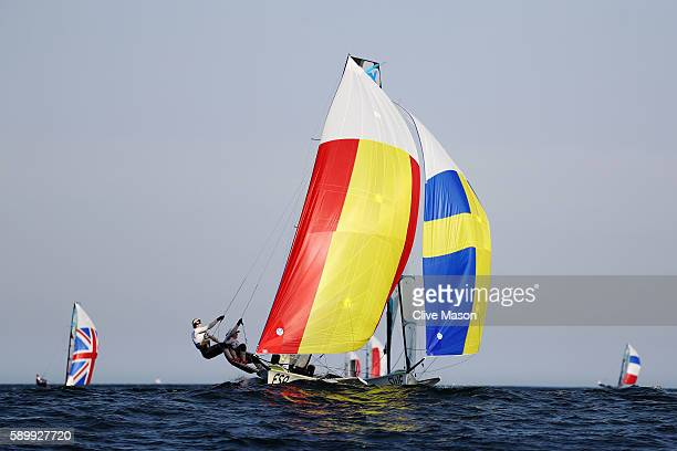 Tamara Echegoyen Dominguez of Spain and Berta Betanzos Moro of Spain compete during their Women's 49er FX class race on Day 10 of the Rio 2016...