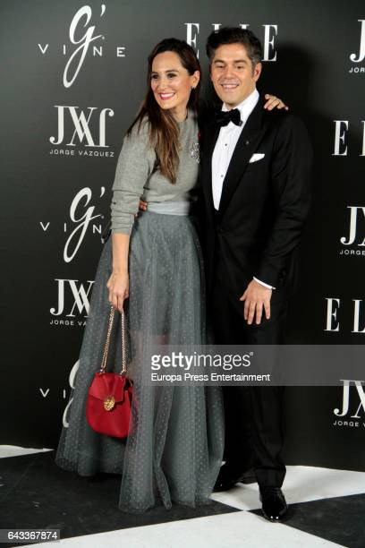 Tamara Falco and Jorge Vazquez attend the 'Elle Jorge Vazquez' photocall at Principe Pio theatre on February 20 2017 in Madrid Spain
