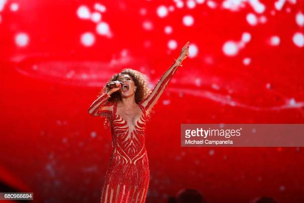 Tamara Gachechiladze representing Georgia performs the song 'Keep The Faith' during the first semi final of the 62nd Eurovision Song Contest at...