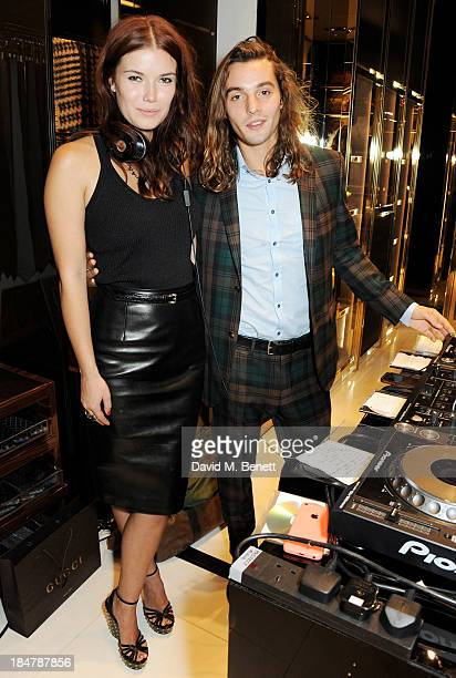 Tamara Hash and Oscar Tuttiett attend a private cocktail hosted by Gucci and Clara Paget to celebrate 'I Bamboo You' at Gucci's Old Bond Street store...