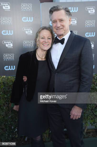 Tamara Hurwitz and Actor Bill Pullman attend Moet Chandon celebrate The 23rd Annual Critics' Choice Awards at Barker Hangar on January 11 2018 in...