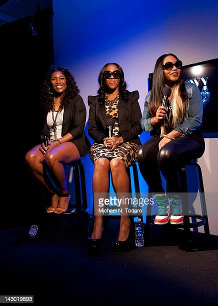 Tamara Johnson Cheryl Gamble and Leanne Lyons of SWV visit the Apple Store Soho on April 17 2012 in New York City