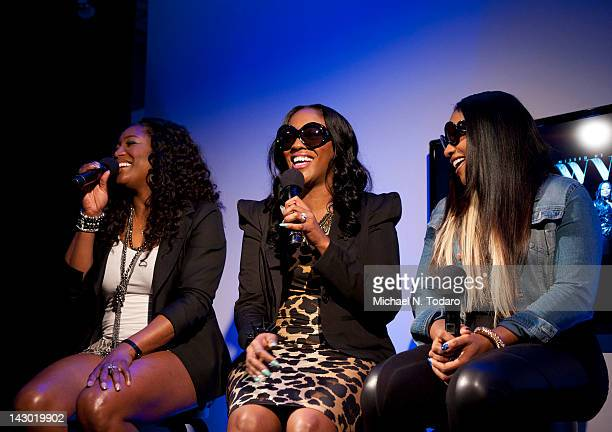 Tamara Johnson Cheryl Gamble and Leanne Lyons of SWV visit the Apple Store Soho on April 17 2012 in New York City