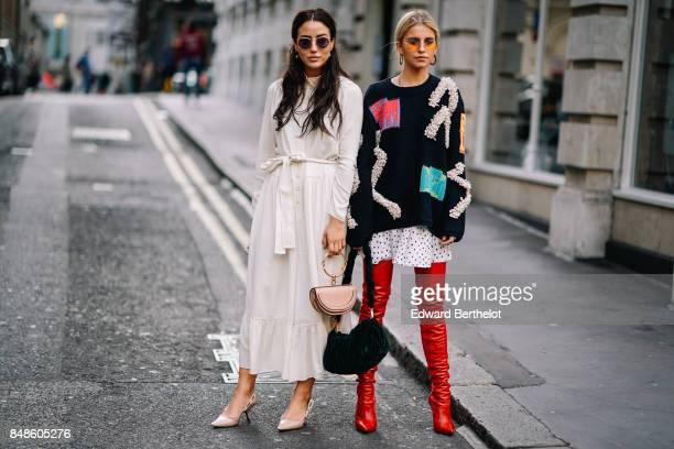 Tamara Kalinic and Caroline Daur outside Peter Pilotto during London Fashion Week September 2017 on September 17 2017 in London England