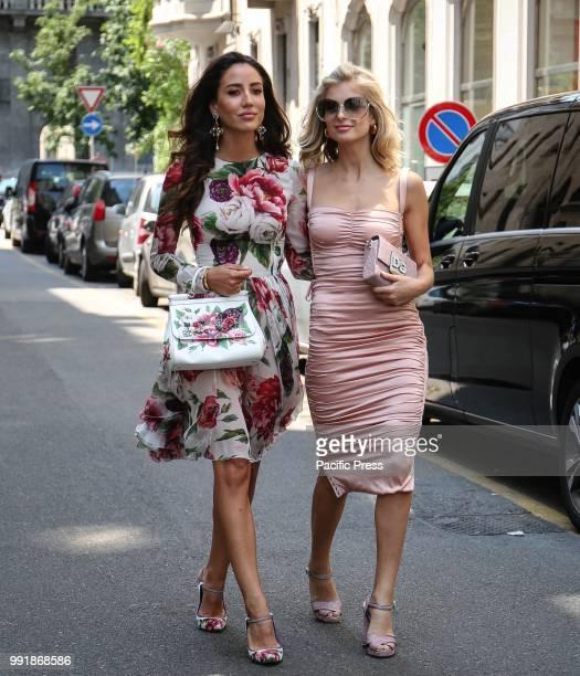 Tamara Kalinic and Xenia Van Der Woodsen on the street during the Milan Fashion Week.