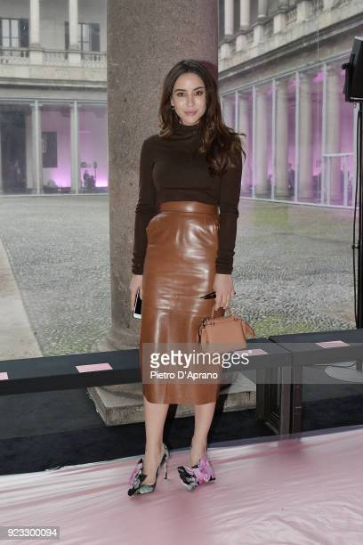 Tamara Kalinic attends the Blumarine show during Milan Fashion Week Fall/Winter 2018/19 on February 23 2018 in Milan Italy