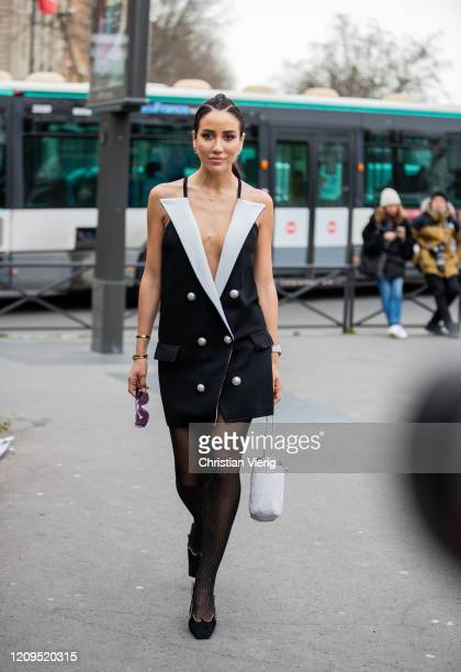 Tamara Kalinic is seen wearing black blazer dress, sheer tights outside Balmain during Paris Fashion Week - Womenswear Fall/Winter 2020/2021 : Day...