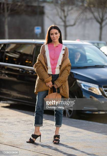 Tamara Kalinic is seen wearing brown pants zipped jacket denim jeans outside Rochas during Paris Fashion Week Womenswear Fall/Winter 2020/2021 Day...