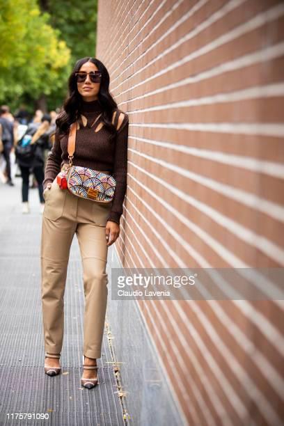 Tamara Kalinic poses outside the Fendi show during Milan Fashion Week Spring/Summer 2020 on September 19, 2019 in Milan, Italy.